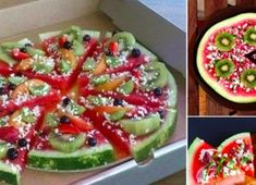 Healthy Snack Idea for Kids – Fruit Pizza made of Watermelon *** Great Kids Party Snack Idea – Watermelon Pizza Watermelon Fruit Pizza, Pizza Fruit, Eat Pizza, Fruit Salads, Pizza Snacks, Watermelon Slices, Pizza Food, Fruit Snacks, Cute Food
