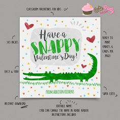 Printable Valentines Day Cards, Valentines For Kids, Valentine Day Gifts, Bag Toppers, Printed Materials, Kids Cards, Classroom, Email Address, Alligator Birthday