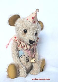 Circus Bear BOO - Mohair Artist Bear - Vintage Style - Handmade Plush Teddy.