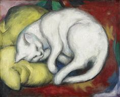 The White Cat - Franz Marc - The Athenaeum Franz Marc, Wassily Kandinsky, Art And Illustration, Cat Posters, Fine Art Posters, Art Du Monde, Expressionist Artists, Kunst Poster, White Cats
