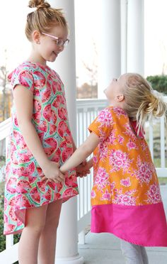 Love this high low dress for little girls! Knot Swing Dress Pattern {free pattern} || Easy summer kids dress to sew for sizes 2T thru 10