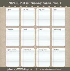 NOTE PAD Journaling Cards for Scrapbooking or Project Life