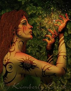 Habonde: celtic witchy goddess representing abundance of joy, health, fertility, luck.  Customarily honored by dancing around ritual fires, the smoke of which would purify both body and soul