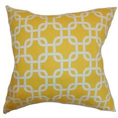 Cotton pillow with lattice motif and down fill.   Product: PillowConstruction Material: Cotton cover and feather down fillColor: Corn yellowFeatures:  Insert includedHidden zipper closureMade in the USA Dimensions: 18 x 18Cleaning and Care: Spot clean