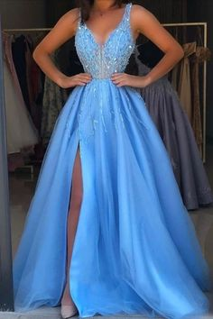 V Neck Slit Side Blue Prom Dresses with Beaded, Tulle Evening Dress Cute Prom Dresses, Grad Dresses, Dance Dresses, Pretty Dresses, Pageant Dresses, Bridesmaid Dresses, Wedding Dresses, Party Gowns, Party Dress