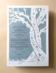 Papercut Ketubah Intertwined Trees by PapercutsByOren on Etsy