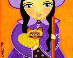 Cat themed folk art, paintings, prints, dolls & pillows by thatsmycat Tropical Flowers, Colorful Flowers, Cat Colors, A 17, Cat Art, Folk Art, Wrapped Canvas, Siamese Cat, Painting