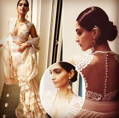 Sonam Kapoor takes ‪Cannes‬ by storm in Abu Jani Sandeep Khosla! The supremely stunning diva wore a light beige, chiffon layered frill saree edged with chamoise appliqué borders teamed with a skin net HEARTS blouse.