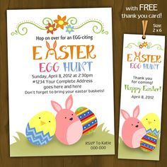 Easter Invitation  Easter Egg Hunt by SplashboxPrintables on Etsy