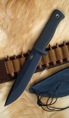 Fallkniven A1, Tactical Fixed Survival Knife Blade Kraton Handle, Black Blade, Plain, Zytel Sheath