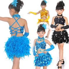 >> Click to Buy << Colorful Sequin Latin Dance for Girls New Design Feather Dance Dress Stage & Dance Wear Kids Ballroom Dresses #Affiliate