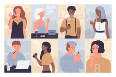 People smoking classic electronic cigare... | Premium Vector #Freepik #vector #people #woman #man #cartoon People Smoking, Electronic Cigarette, Glove, Grass, Cartoon, Woman, Classic, Painting, Derby