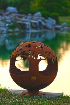 Árbol de la vida fuego hoyo esfera  mano corta acero