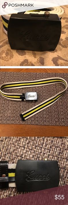 Authentic Gucci Stripe Belt! Authentic Gucci Unisex Belt! Good condition! Cream, black and yellow stripes. Measures about 34 inches. Gucci Accessories Belts
