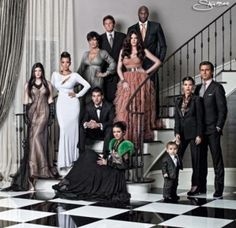 From left: Kylie Jenner, Kim Kardashian, Kris Jenner, Bruce Jenner, Khloe Kardashian, Lamar Odom, Robert Kardashian, Kendall Jenner, baby Mason, Kourtney Kardashian and Scott Disick.