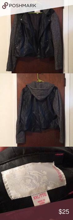 Xhilaration Faux Leather Jacket Xhilaration Faux Leather Jacket with sweatshirt sleeves and hood. Worn a few times. Size XXL. Xhilaration Jackets & Coats