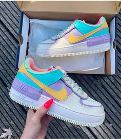 Back to the with these amazing new sneakers from Nike. They come in the original design of the Air Force 1 but then with double layered details. In beautiful pastel rainbow colors. Named Nike Air Force 1 Shadow Pale… Cute Nike Shoes, Cute Nikes, Cute Sneakers, Sneakers Nike, Cute Teen Shoes, Neon Shoes, Jordan Sneakers, Awesome Shoes, Adidas Shoes