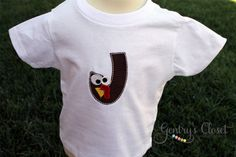 Thanksgiving Fall Shirt or Onesie. Baby Girl or Boy Cute Little Turkey Monogram. Personalized Gobble Gobble.