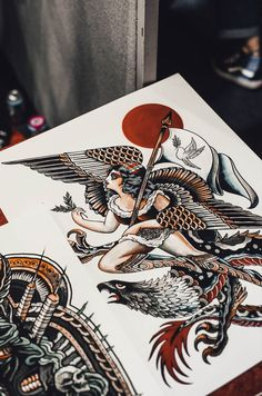 A few weeks back we made our way down to East London's Tobacco Docks for the commencing day of the International London Tattoo Convention. Traditional Tattoo Sketches, Neo Traditional Tattoo, American Traditional, Old Tattoos, Body Art Tattoos, Sleeve Tattoos, Tatoos, Hawk Tattoo, Tattoo Ink