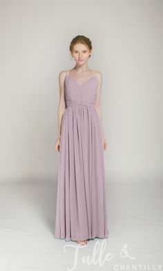 aba19f225ea5 Long V-neck Bridesmaid Dress with Spaghetti Straps TBQP368