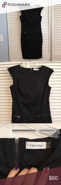 Calvin Klein Little Black Dress This dress could be work appropriate and your favorite LBD all in one! It's got zippered pockets and looks great with a blazer. It's a size 2 and has some stretch to form to your body! No stains rips or holes. Worn once but doesn't fit my daughter anymore! :) retail $150 Calvin Klein Dresses Midi