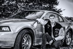high school senior portrait, black and white, mustang