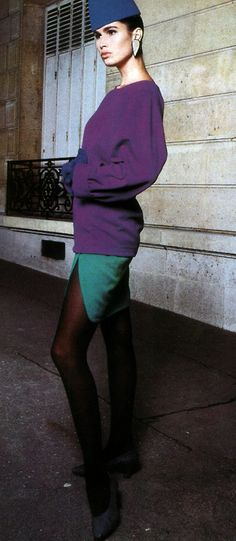 1987. Clothing by Yves Saint Laurent Rive Gauche by Guy Bourdin for American Vogue