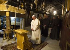 Pope Francis prays in the Church of the Nativity in Bethlehem with Franciscan Custos of the Holy Land, Fr. Pierbattista Pizzaballa, in the background www.ffhl.org #ffhl #popeinholyland #popefrancis