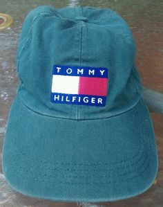 Vintage 90's Tommy Hilfiger Cap Baseball Hat 6 Panel Strap Back..Money Green!! #TommyHilfiger #Baseball6PanelCap