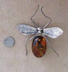 Extraordinary 3 1/2 inch Vintage Amber Sterling Bug Brooch #VintageJewelry #rubylane