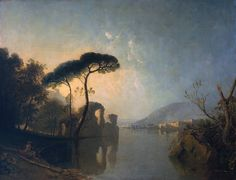Richard Wilson (1713‑1782)  Lake, Ruin and Pine Trees, c.1765-70, Oil paint on canvas, Tate Collection