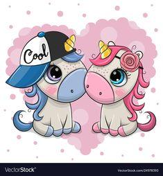 Two Cartoon Unicorns on a heart background. Two Cute Cartoon Unicorns on a heart background stock illustration Unicorn Drawing, Cartoon Unicorn, Unicorn Art, Chibi Unicorn, Heart Background, Background Patterns, Vector Background, Simple Cartoon, Cute Cartoon