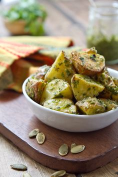 Hatch Chile Pesto Potatoes http://www.acommunaltable.com/hatch-chile-pesto-potatoes/