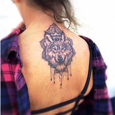 Wolf and mandala tattoo by Rowell Alfelor. #tat #tats #tattoo #tattoodesign