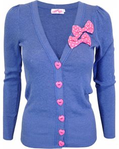 Blue cardigan with pink dotty bows, Royal Cindy - Upper 5th