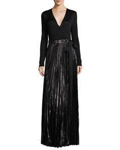 DIANE VON FURSTENBERG HEAVYN METALLIC-SKIRT MAXI WRAP DRESS, BLACK. #dianevonfurstenberg #cloth #