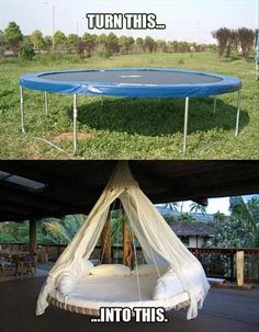 Turn a trampoline into a hanging outdoor bed as a new take on the hammock idea for relaxing. Turn a trampoline into a hanging outdoor bed as a new take… Trampolines, Outdoor Projects, Home Projects, Craft Projects, Ideias Diy, Outdoor Living, Outdoor Decor, Outdoor Fun, Diy Hanging
