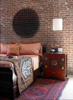 Suzani accent on a modern asian styled interior