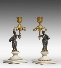 Pair of Regency Period Gilt Bronze Candlesticks (Ref No. 5993) - Windsor House Antiques