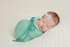 Ocean Blue Newborn Knit Swaddle Sack