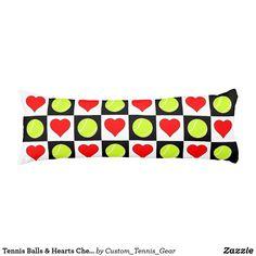 Tennis Balls & Hearts Checker Pattern Body Pillow #checkered #tennis #body #pillows