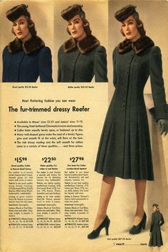 Fall fashion trends of the 1940s : A fur trim adds a note of 1940s elegance to this slightly flared coat. Sears Catalog fall/winter 1942-43