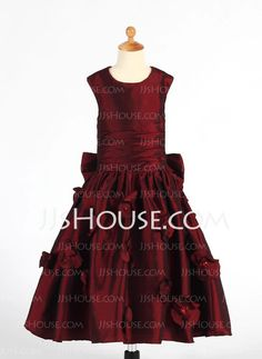 Flower Girl Dresses - $108.69 - A-Line/Princess Scoop Neck Tea-Length Taffeta Flower Girl Dresses With Ruffle (010014652) http://jjshouse.com/A-Line-Princess-Scoop-Neck-Tea-Length-Taffeta-Flower-Girl-Dresses-With-Ruffle-010014652-g14652