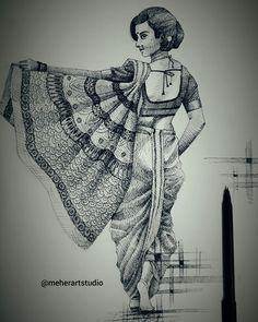 Girl Drawing Sketches, Doodle Art Drawing, Art Drawings Sketches Simple, Drawing Guide, Abstract Pencil Drawings, Dark Art Drawings, Indian Art Gallery, Mini Canvas Art, Indian Art Paintings