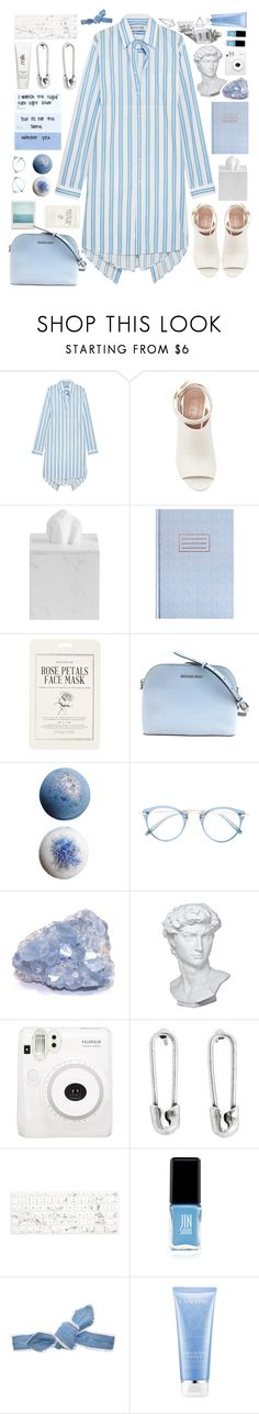 """""""Soft Blue T-Shirt Dress"""" by unicornonthecobb ❤ liked on Polyvore featuring Balenciaga, Marni, Forever 21, Oliver Peoples, Eichholtz, H2O+, Disney Couture, Recover, Jin Soon and Colette Malouf"""