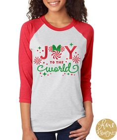 Peppermint Minnie Mouse - Joy To The World - Disney Glitter Shirt - Christmas Glitter Shirt