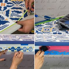 Steps for stenciling a Talavera tile table via Paint + Pattern