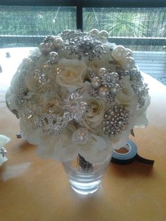 Brooch Bouquet :  wedding bouquet brooch diy ivory silver white 2012 01 08 16.55.18