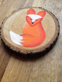 Wood Coasters Set of 4 Little fox hand painted by OwlDesignsNY
