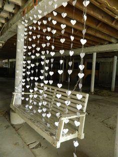 "Wedding Garland/Paper Heart ""Curtain""/12 Garlands/ Curtain Backdrop/Wedding Reception Decoration/Photo Prop/Ceremony Backdrop/ Paper Garland..."